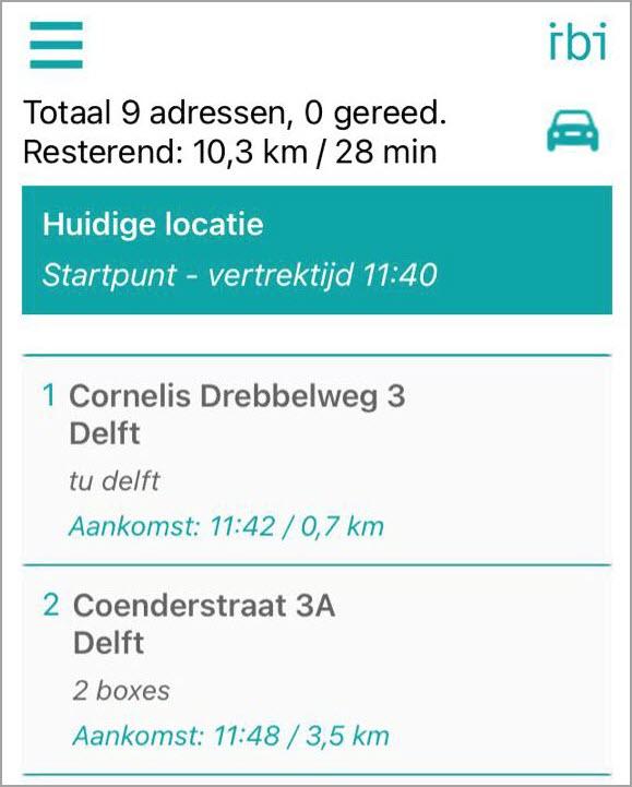 De verwachtte aankomsttijd wordt per per stop weergegeven. Je kan een extra tijd per adres instellen die je nodig hebt om af te leveren of op te halen.