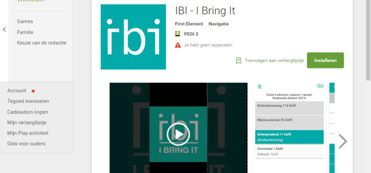 IBI is nu in de Google Playstore te vinden
