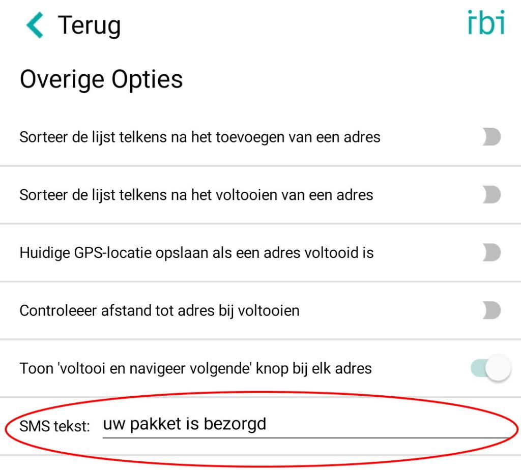 overige opties - sms tekst small